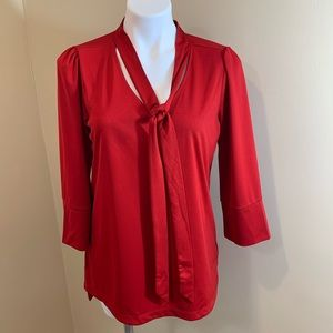 Worthington Red 3/4 Sleeve Blouse Top F16